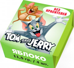 """Жевательные конфеты """"Tom and Jerry"""" со вкусом Яблока 11,5гр х 40шт / Словения/"""
